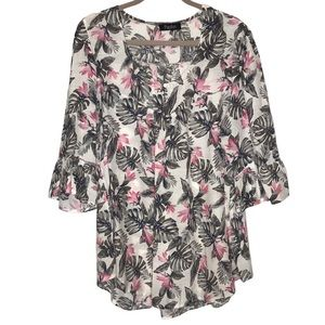 Papillon Floral 3/4 Bell Sleeve Oversized Top